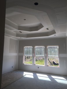Double tray ceiling in master bedroom looking out to private backyard.